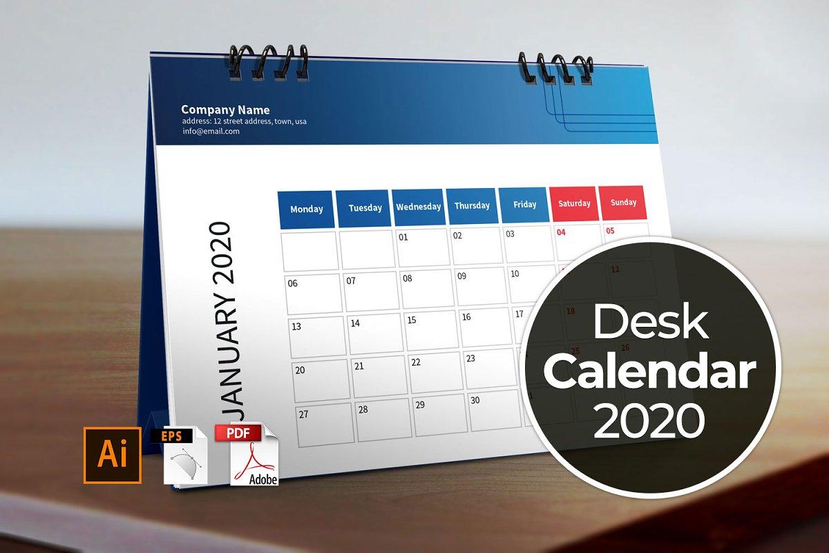 Desk Calendar 2020 Desk Calendar Template for 2020 ~ Stationery Templates ~ Creative