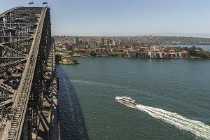 Boat and Sydney Harbor Bridge