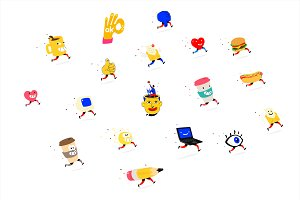 Cartoon characters! Vector icons.