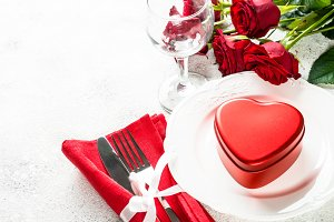 Holiday table setting with plate