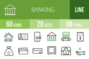 60 Banking Line Green & Black Icons