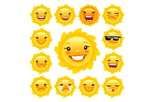 Cartoon Sun Character Emoticons Set