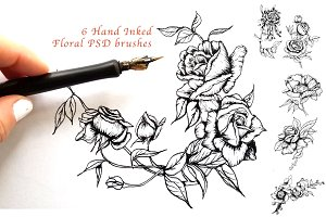 6 Hand Inked Floral PSD Brushes