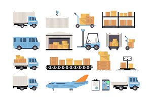 Warehouse and logistics Icons Flat