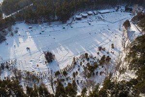 Aerial view of winter ski base