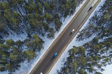 Aerial view of a road in winter by  in Nature