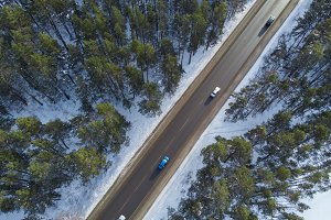 Aerial view of a road in winter