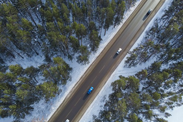 Nature Stock Photos: Jan Jack Russo Media - Aerial view of a road in winter