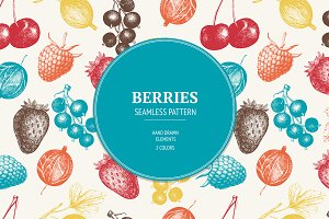 Seamless vector pattern with berries
