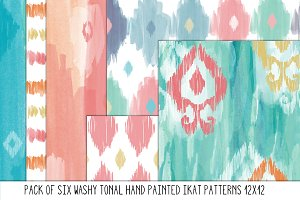 Hand Painted Tonal Ikat Patterns
