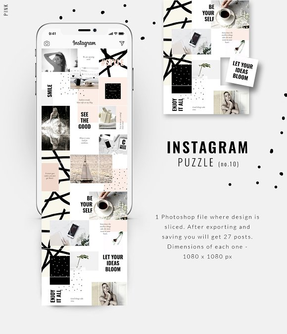 81% OFF  BUNDLE v.2-Instagram Puzzle in Instagram Templates - product preview 3