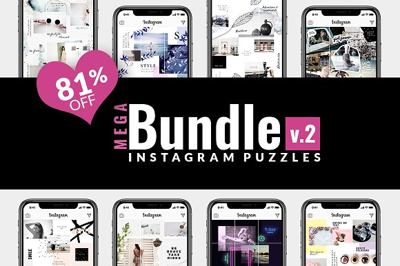 81% OFF  BUNDLE v.2-Instagram Puzzle in Instagram Templates - product preview 17