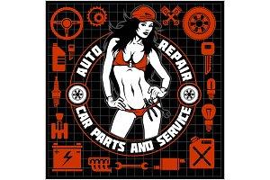 Girl in bikini and car servive icons