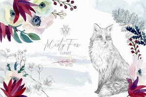 Watercolor forest flowers clipart