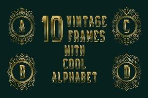 10 vintage frames + cool alphabet