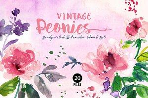 Vintage Peonies- Watercolor Clip Art