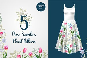 5 Seamless Floral Border Patterns