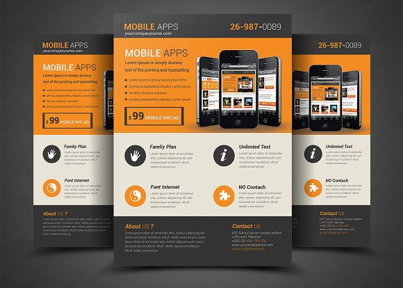 mobile app flyer template flyer templates creative market. Black Bedroom Furniture Sets. Home Design Ideas