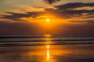 Sunset on the Kuta beach with