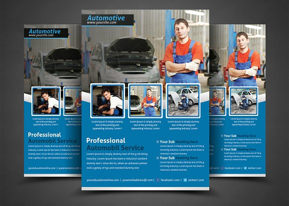 auto repair business flyer flyer templates creative market