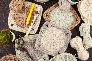 Crochet yarn, crochet hooks, and
