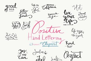 Positive Hand Lettering Clipart