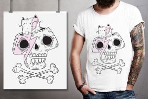 Cartoon Skull and Cute cat Graphic