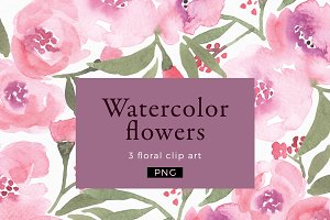 Watercolor flowers Clipart PNG