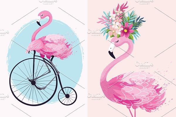 Cute flamingo print.Animal Pattern.