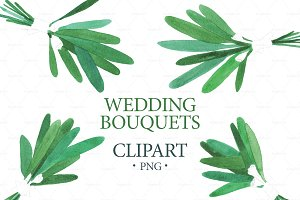 Watercolor WEDDING BOUQUETS Clipart
