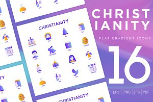Christianity | 16 Flat Gradient Icon