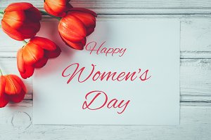 Happy women's day greeting with tuli