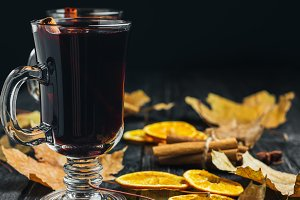 a glass of red wine mulled wine. war
