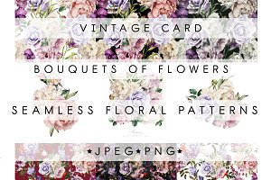 Floral set(patterns, bouquets, card)