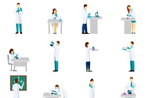 Scientist person flat icons set