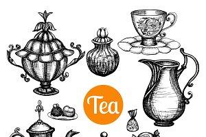 Hand drawn retro tea set