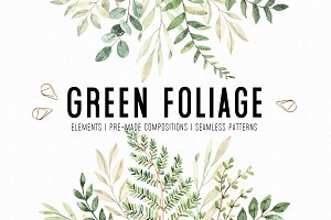 Watercolor green foliage