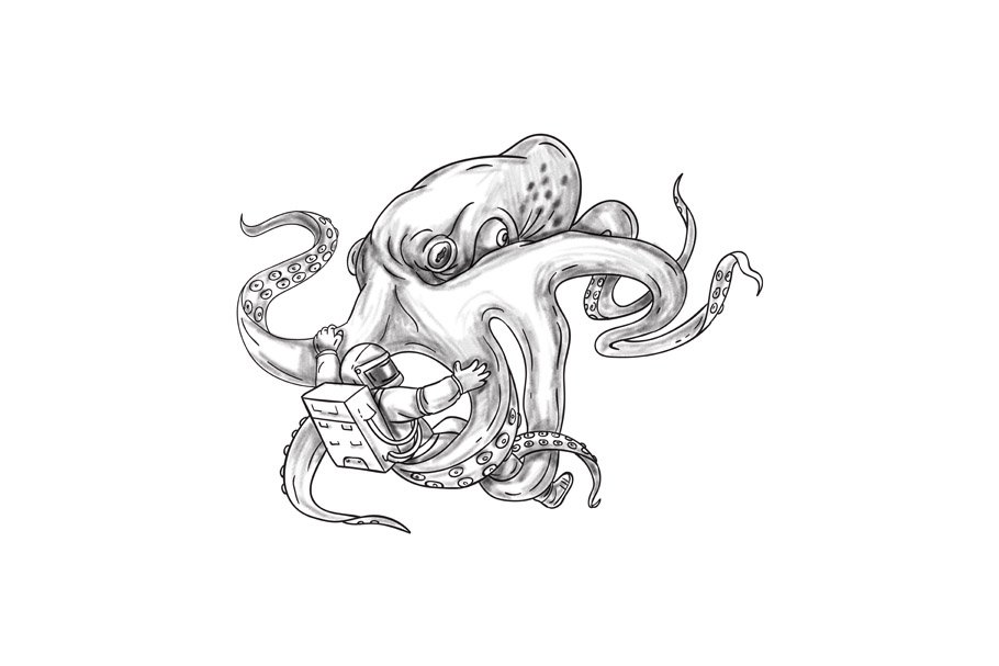a5d4ccd0cfc96 Giant Octopus Fighting Astronaut Tat ~ Illustrations ~ Creative Market