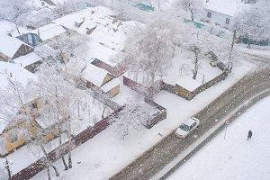 Heavy snowfall winter people aerial