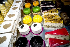 cakes in the bakery display