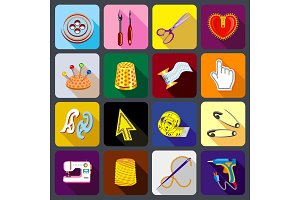 Tailor tools icons set, flat style