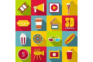 Movie items icons set, flat style