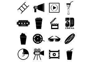 Movie items icons set, simple style