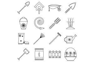 Gardener tools icons set, outline