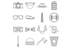 Hipster items icons set, outline
