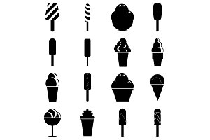 Different ice cream icons set