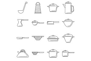 Tableware icons set, outline style