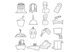 Hotel items set, cartoon style