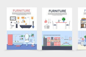 Flat home interior posters