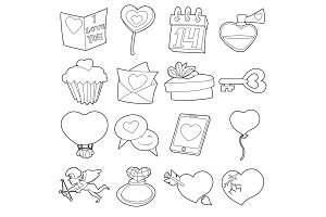 Saint Valentine icons set, cartoon